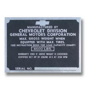 (1947-49)  Door Post ID Plate - Chevrolet