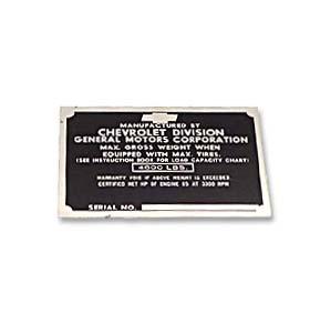 (1950)  Door Post ID Plate - Chevrolet