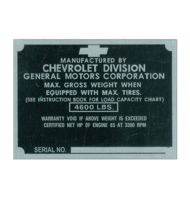 (1950)  Door Post ID Plate - Chevrolet