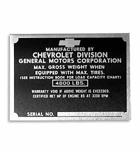 (1951-52)  Door Post ID Plate - Chevrolet