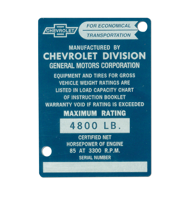 (1953)  Door Post ID Plate - Chevrolet
