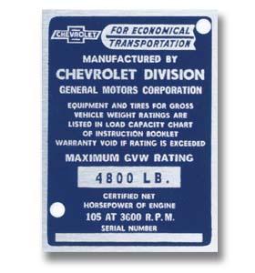 (1954)  Door Post ID Plate - Chevrolet