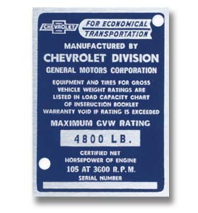 Door Post ID Plate-Chevrolet-Classic Chevy Truck Parts