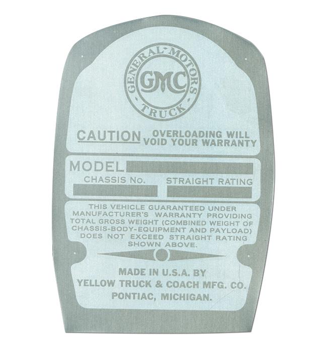 (1936-38)  Door Post ID Plate - GMC