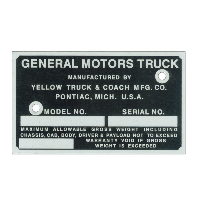 (1939-46)  Door Post ID Plate - GMC