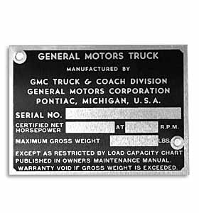 (1947-52)  Door Post ID Plate - GMC