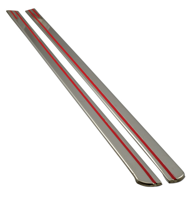 (1939-40) Stainless Hood Strips w/Red Stripes - Pair