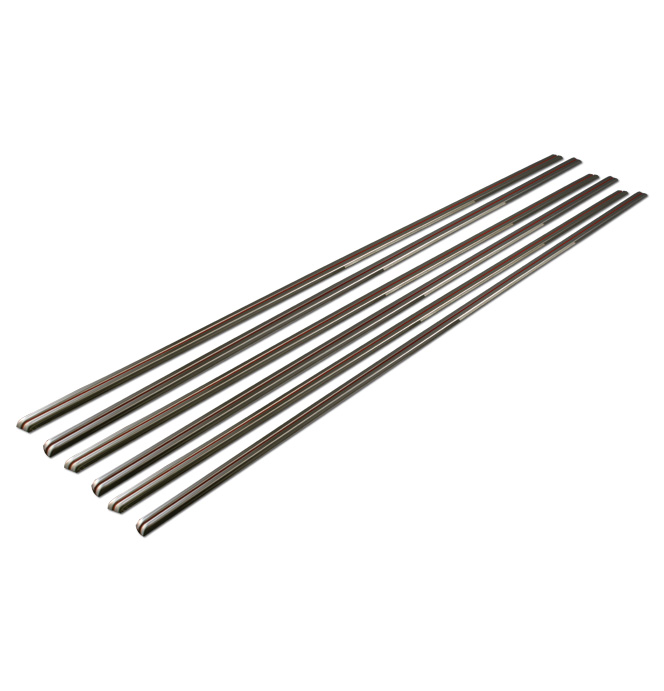 (1941-46) Stainless Hood Strips w/Red Stripes - Set