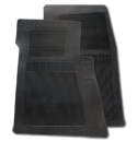 (1947-98)  Bow Tie Rubber Floor Mats - 2pc Front - Black