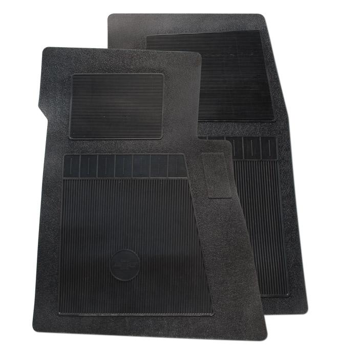 (1947-98)  Bow Tie Rubber Floor Mats - 2pc Front - Black