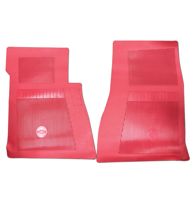 (1947-98)  Bow Tie Rubber Floor Mats - 2pc Front - Red