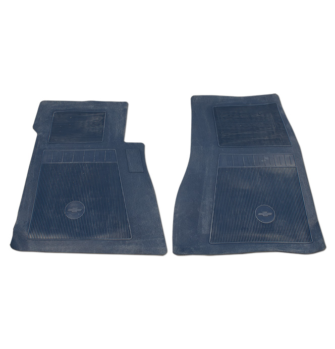 (1947-98)  Bow Tie Rubber Floor Mats - 2pc Front - Dark Blue
