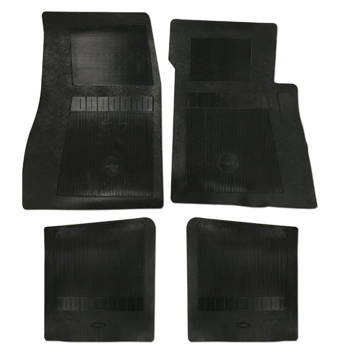 (1947-98)  Bow Tie Rubber Floor Mats - 4pc Front & Rear - Black