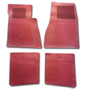 (1947-98)  Bow Tie Rubber Floor Mats - 4pc Front & Rear - Red