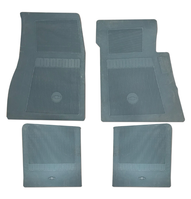 (1947-98)  Bow Tie Rubber Floor Mats - 4pc Front & Rear - Light Blue