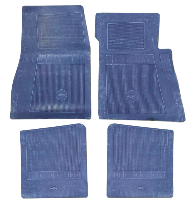 (1947-98)  Bow Tie Rubber Floor Mats - 4pc Front & Rear - Medium Blue