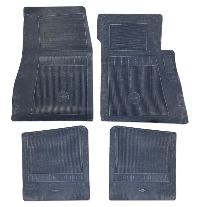 (1947-98  Bow Tie Rubber Floor Mats - 4pc Front & Rear - Dark Blue