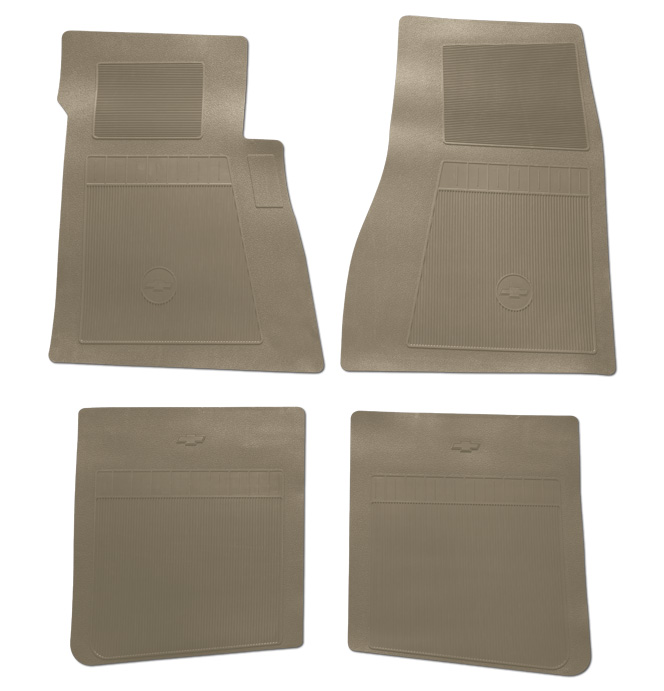 (1947-98)  Bow Tie Rubber Floor Mats - 4pc Front & Rear - Tan
