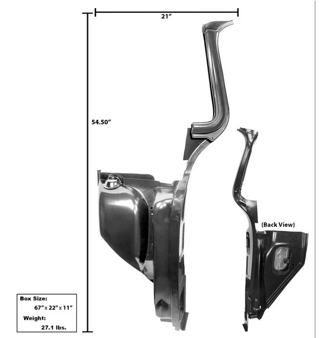 (1955-59)  * Complete Kick Panels w/ A Pillar - Left
