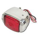(1941-53)  LED Taillamp Assembly - Chrome-Left-Plastic Red Lens