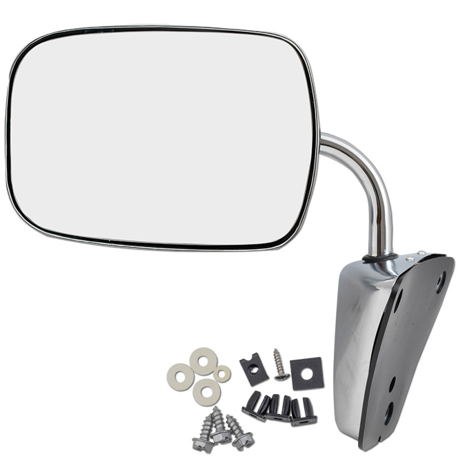 (1973-87)  Outside Mirror Assembly - Reproduction - D45 -  Chrome - Below Eyeline