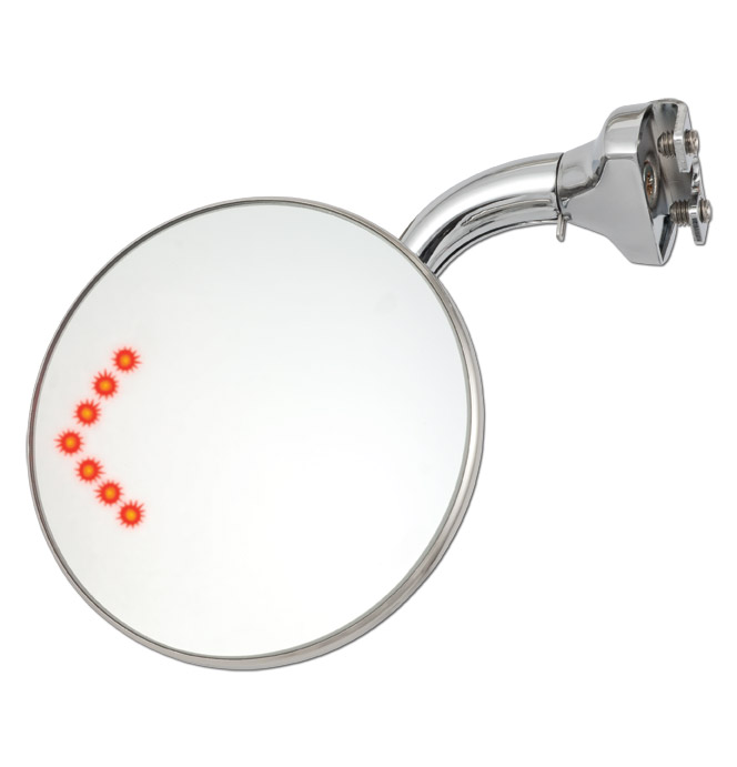 (1941-87)  Peep Mirror - with Curved Arm Round Head Wide Angle-LED