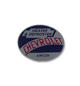 (1954-55)  Heater Mylar Decal - Chevy, Airflow