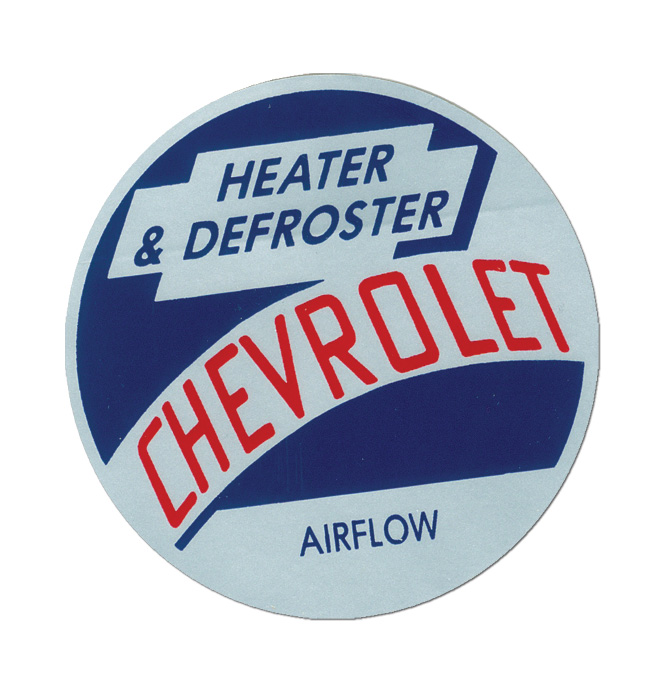 (1954-55)  Heater Mylar Decal - Chevy, Airflow