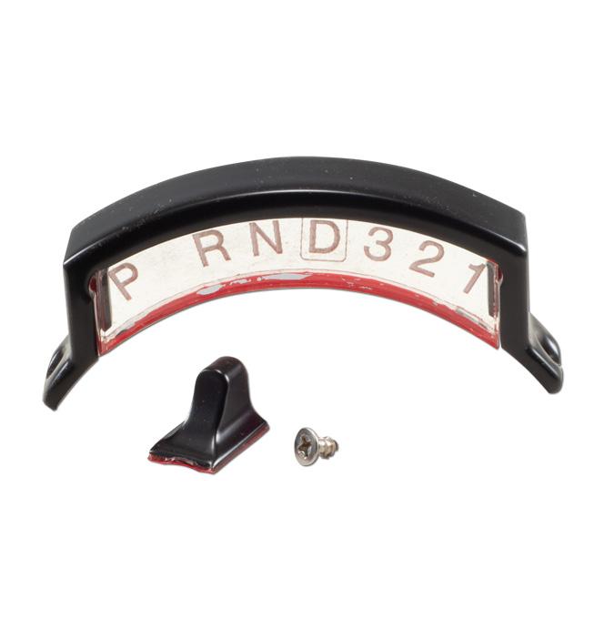 (1947-72)  Acrylic Shift Indicator w/Pointer & Housing- Black Aluminum 3 spd.
