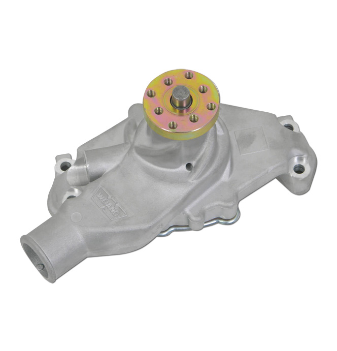 (1955-72)  Weiand Action +Plus Water Pump - SBC - Short - Satin