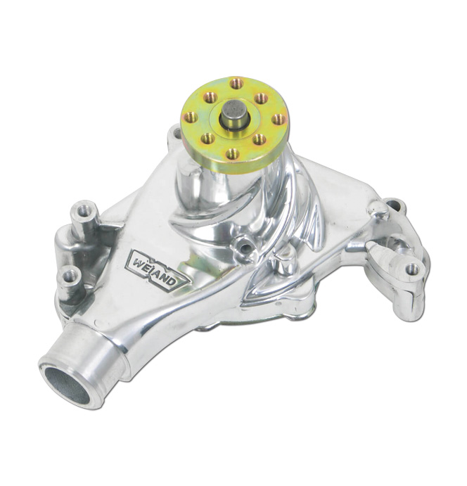 (1969-76)  Weiand Action +Plus Water Pump - SBC - Long - Polished