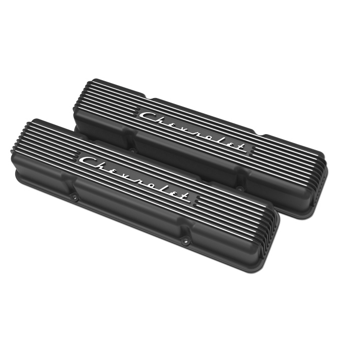 (1947-85) Holley Vintage Series Chevrolet Script Valve Cover- Satin Black