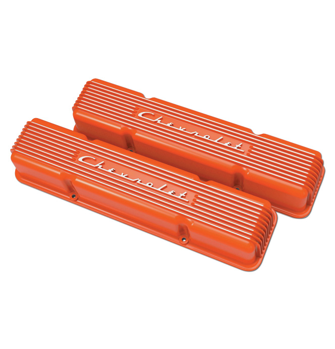 (1947-85) Holley Vintage Series Chevrolet Script Valve Cover- Orange