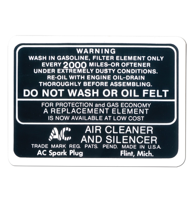 (1934-46)  Air Cleaner Decal - Oil Bath Type
