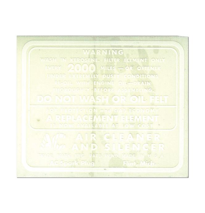 (1934-39)  Air Cleaner Decal-Oil Bath Typ