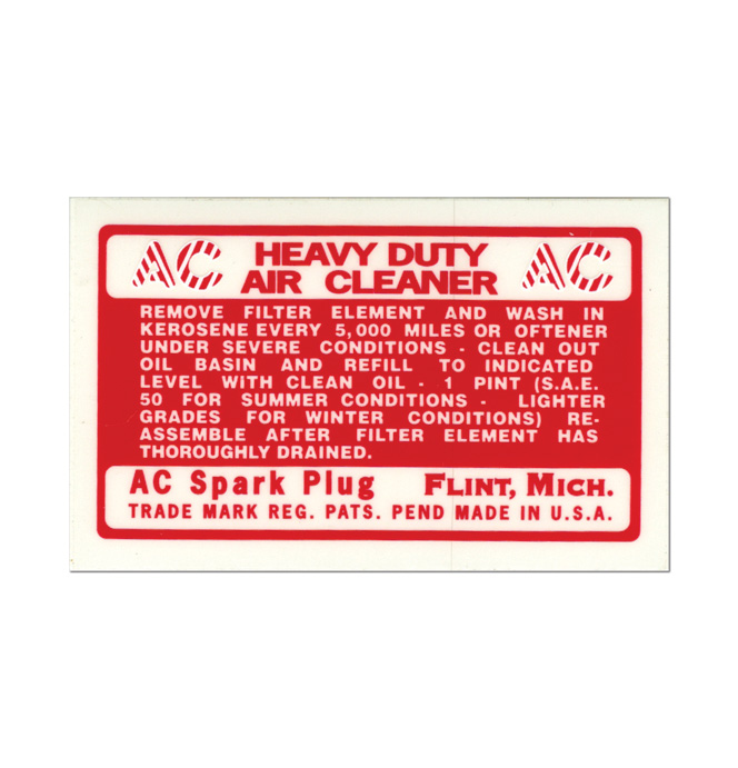 (1940-46 & 54-55)  Air Cleaner Decal - Oil Bath Type