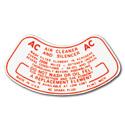 (1955-60)  Air Cleaner Decal-Oil Bath Type-V8 2bbl.