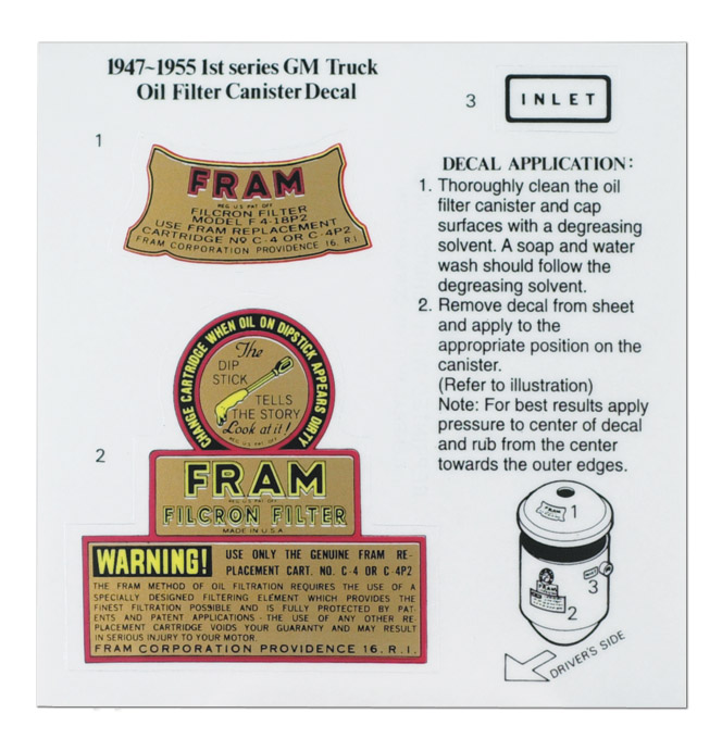 Oil Filter Decalfram Typeclassic Chevy Truck Parts. 194159 Oil Filter Decalfram Type. Wiring. Fram Fuel Filter Canister Auto Wiring Diagram At Eloancard.info