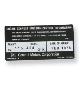 (1978)  Emission Decal-454-CID
