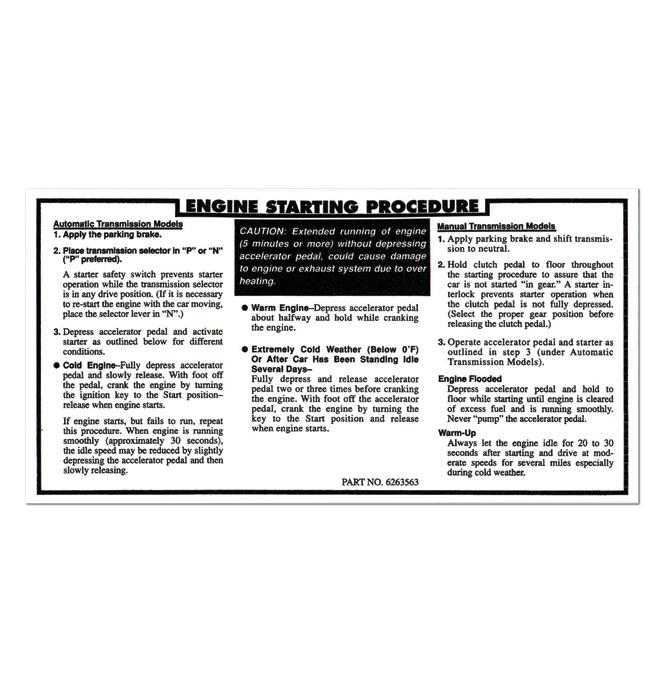 (1971-72)  Engine Starting Procedure Decal