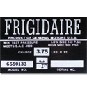 (1963-65)  Frigidaire A/C Comp Decal