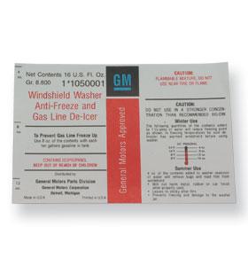 (1974)  Windshield Washer Bottle Decal