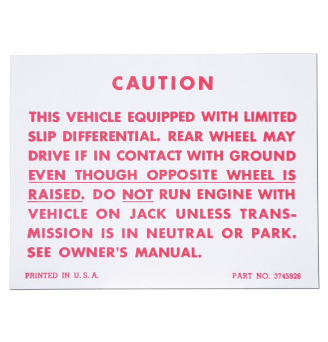 (1957-62)  Positraction Warning Decal
