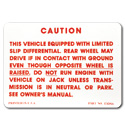 (1963-70)  Positraction Warning Decal