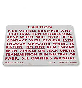 (1971-78)  Positraction Warning Decal