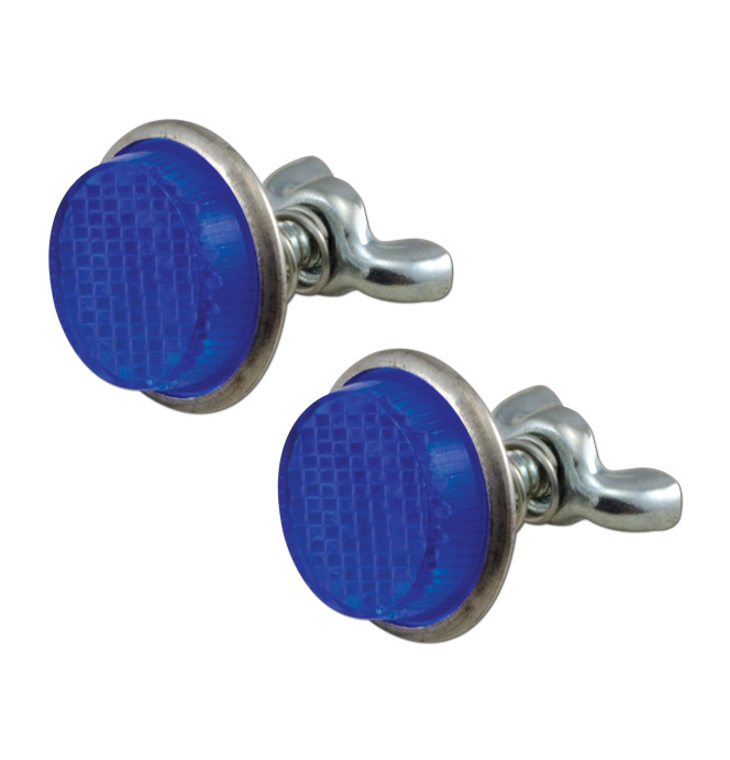 (1947-98)  License Plate Reflector Fasteners - Pair - Blue Plastic