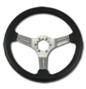 (1941-94)  Steering Wheel-Black Leather-Chrome