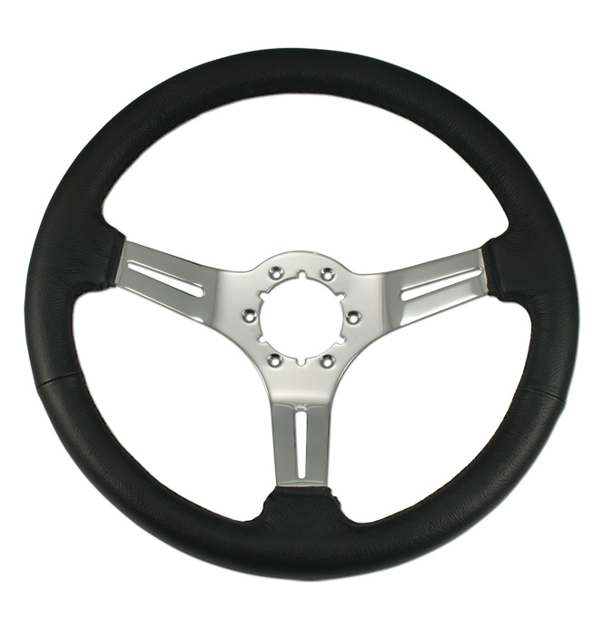 (1941-94)  Steering Wheel-Black Leather-Chrome
