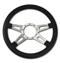 (1941-94)  Steering Wheel-Black Leather-Polished-4 Spoke