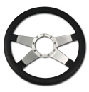 (1941-94)  Steering Wheel-Black Leather-Polished-4 Spoke No Holes
